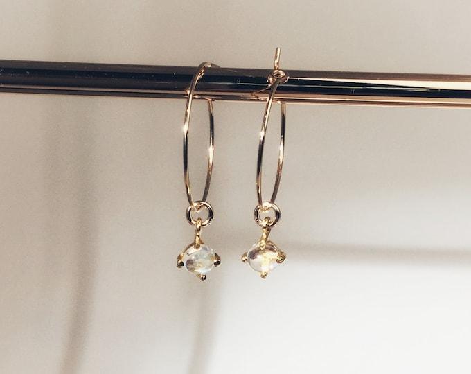Tiny moonstone hoop earrings, simple gold earrings