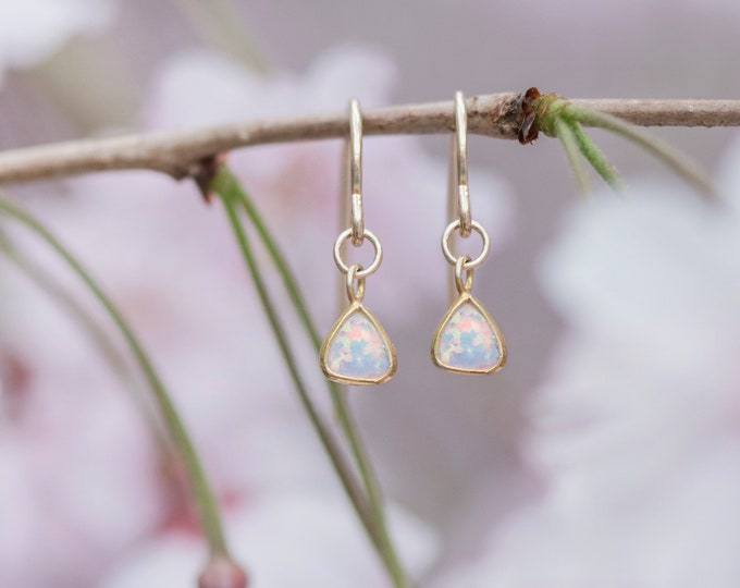 Tiny opal earrings simple gold earrings