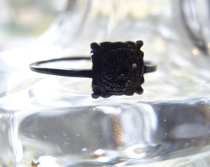 Black Diamond Postage Stamp Ring