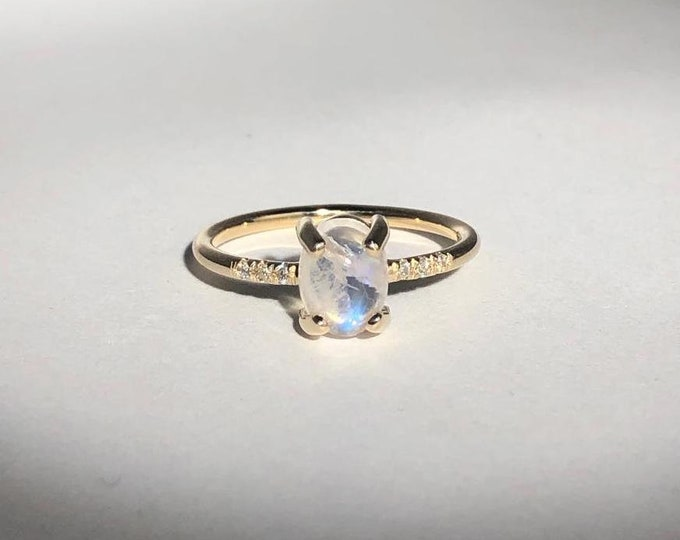 Moonstone ring/ gold and diamond ring/ rainbow moonstone dainty ring