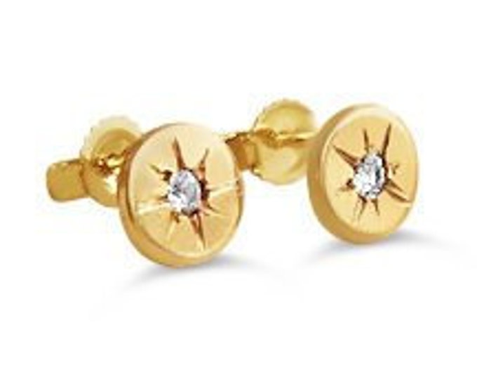 Starburst gold stud earrings, celestial jewelry, star jewelry