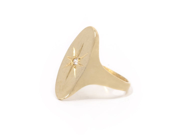 Signet ring with starburst, gold signet ring, north star ring, engraving