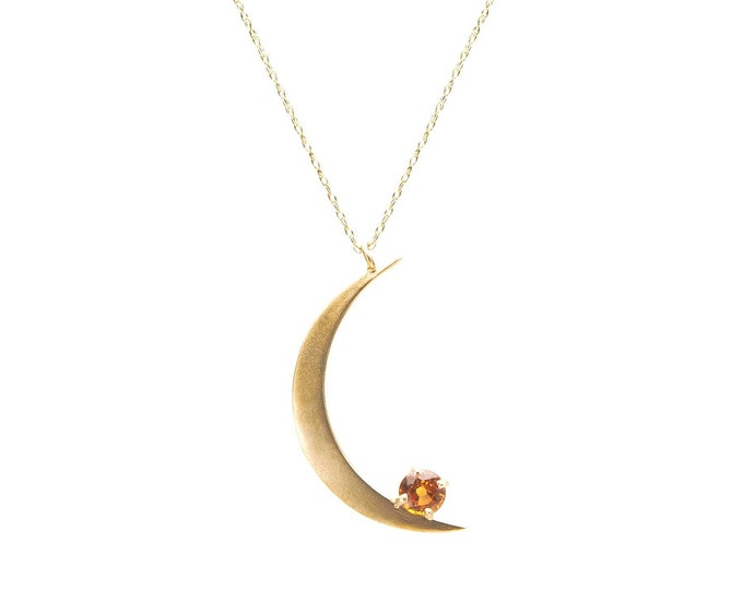 Crescent Moon necklace with orange sapphire in 10k yellow gold