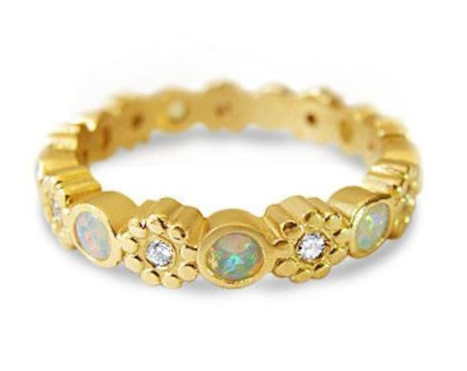 Opal flower eternity ring in 14k gold, diamonds, stack ring, wedding ring