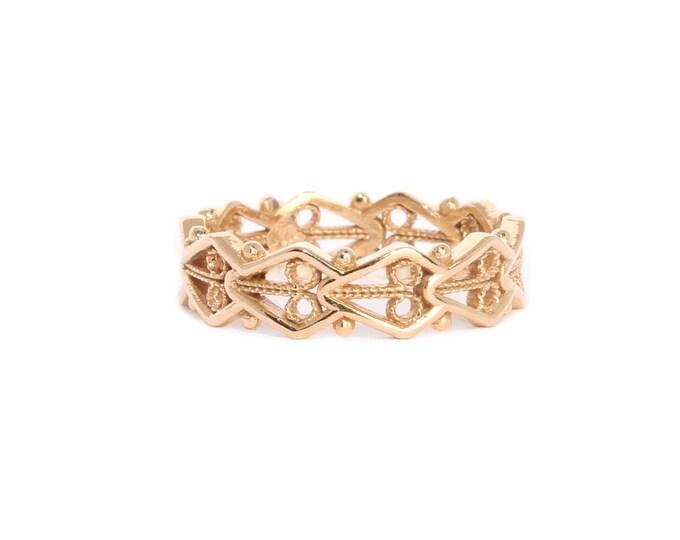 Lace ring 14k gold, filigree band, stack ring, wedding ring