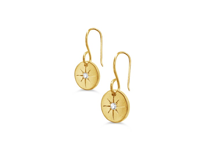 Lucky Star gold earrings, gold disc earrings with starburst