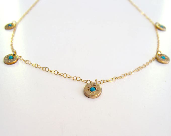 Charm necklace with stars - celestial -gold filled turquoise Starry - eyed charm necklace