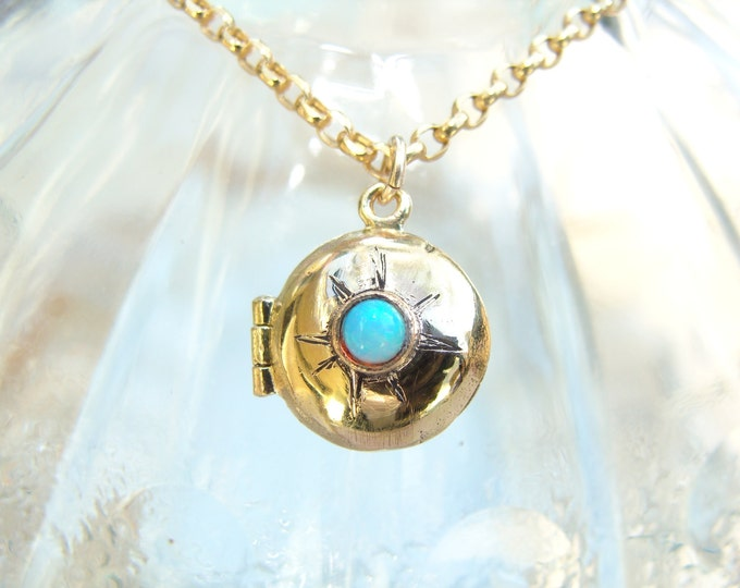 Gold Locket with opal for Valentine's Day 14k gold
