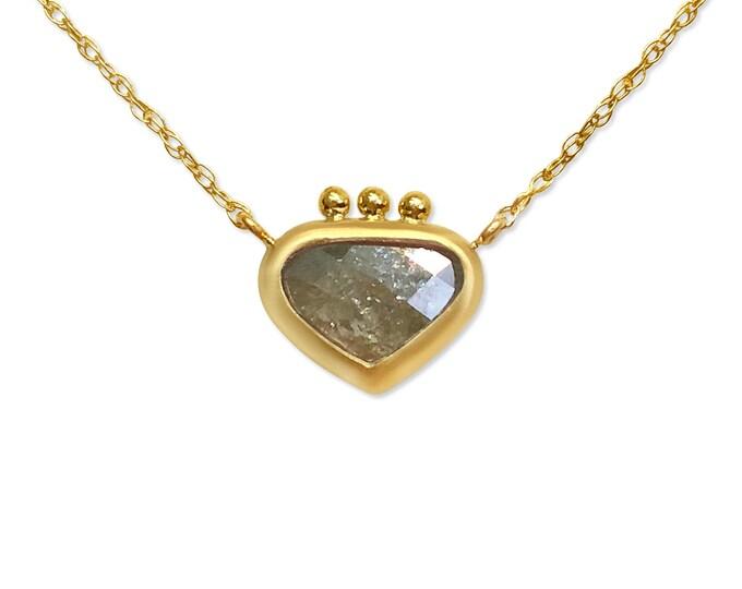 Sacred heart diamond necklace, raw diamond, gold necklace 10k gold dainty necklace
