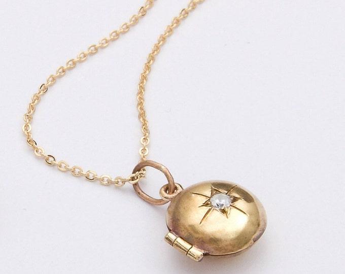 Gold locket starburst design tiny locket child's locket push present