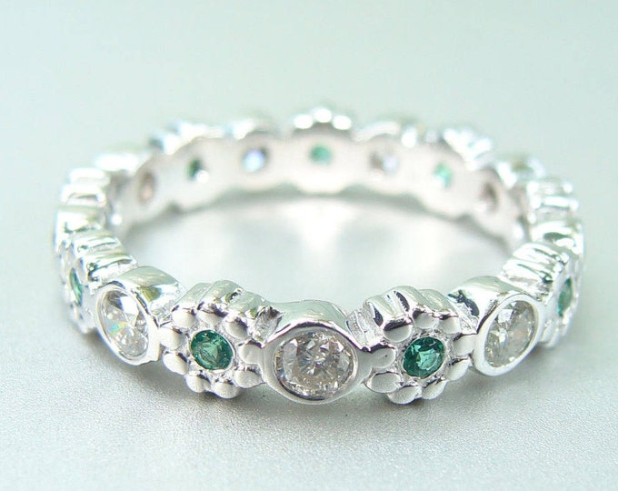 Diamond Eternity ring 14k white gold diamonds emerald