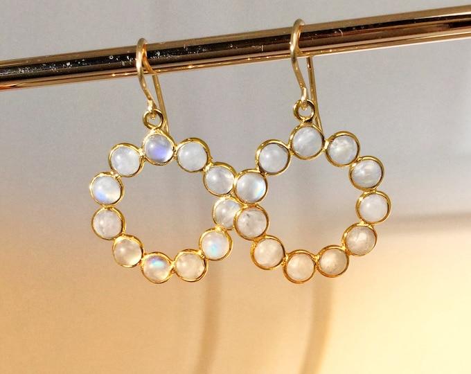 Moonstone hoops, gold vermeil hoops, Mothers day gift
