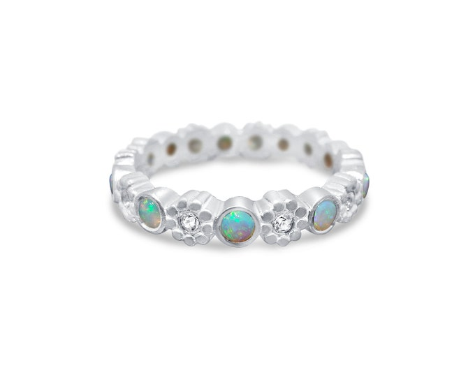Opal diamond ring 18kt white gold flower ring fairy ring wedding ring
