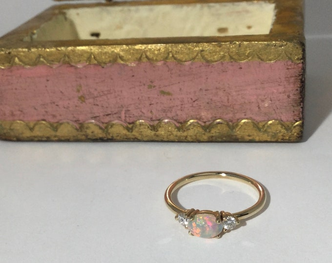 Opal and diamond ring, dainty ring