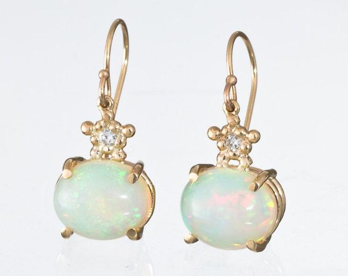 Opal Earrings Gold Stars