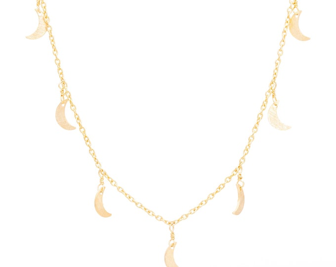 Crescent Moon charm necklace gold shaker charms