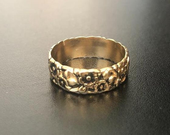 Gold floral ring, Poesy ring, wedding band, friendship ring