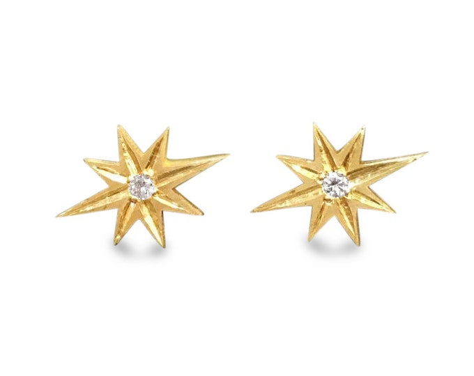 Gold star earrings Estrella starburst studs 10k gold diamonds