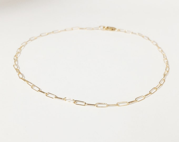 Gold anklet, paperclip chain, gold filled anklet, Mothers day