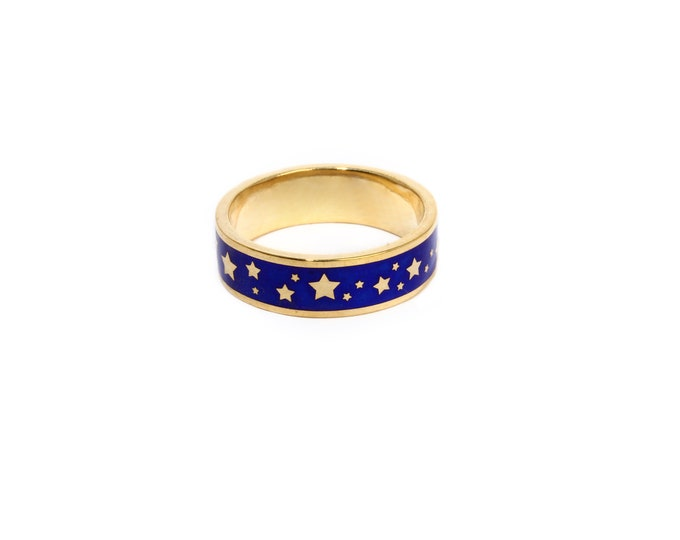 Enamel ring with stars, gold enamel wedding band, blue enamel ring