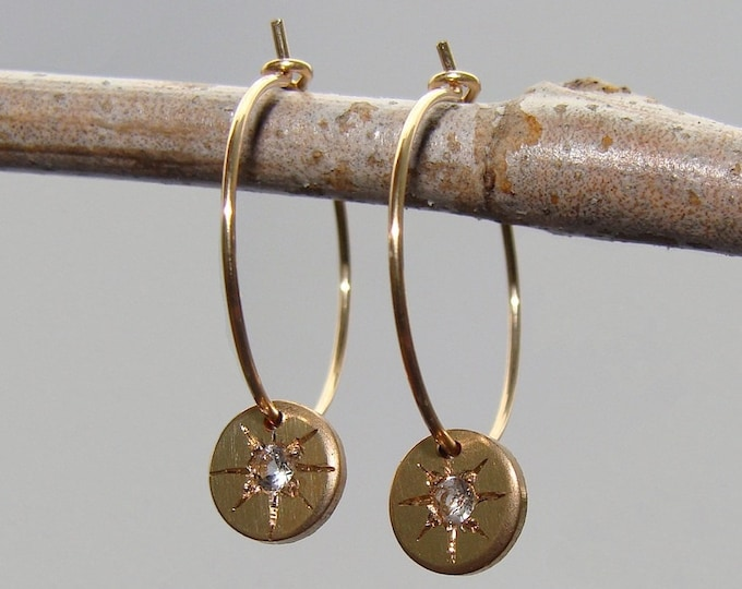 Star jewelry - Starry- eyed gold fill celestial hoops