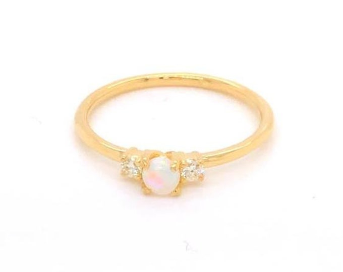 Opal and diamond ring, stackable ring, dainty ring, gold ring, Geron ring