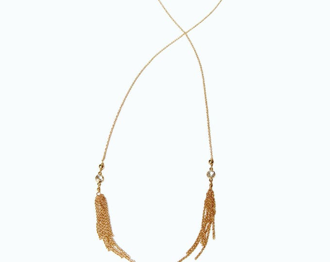 Lariat tassel necklace gold filled fringe and white topaz gemstones