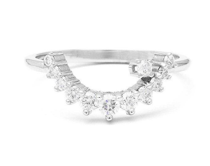 Crescent moon diamond ring in 14k white gold and diamonds