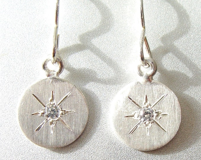 Starburst earrings silver, disc earrings on french wires, dainty earrings