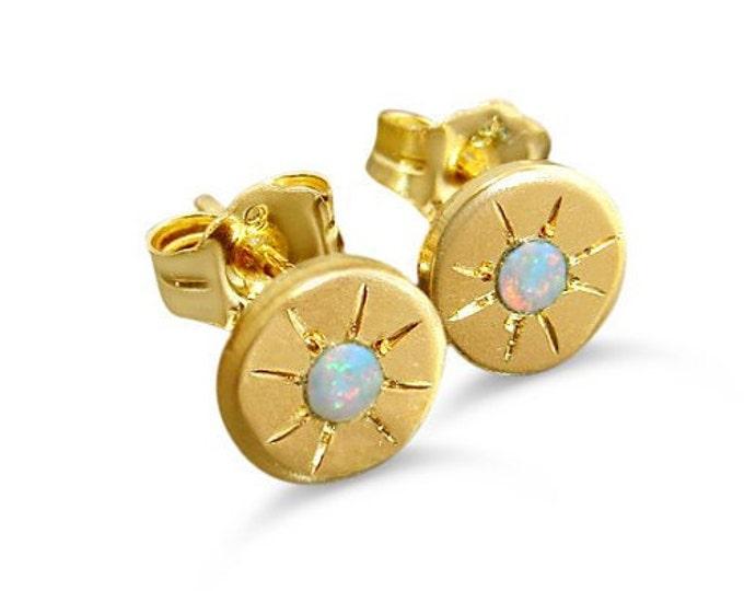 Opal stud earrings with starburst - starry eyed gold post earrings disc earrings girls earrings