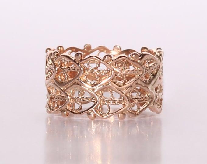 Rose gold cigar band ring 14kt filigree lace