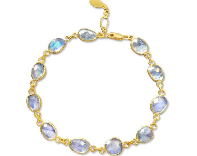 Moonstone bracelet gold rainbow moonstone faceted adjustable