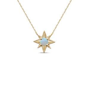 Gold star necklace Estrella starburst 10k gold diamonds