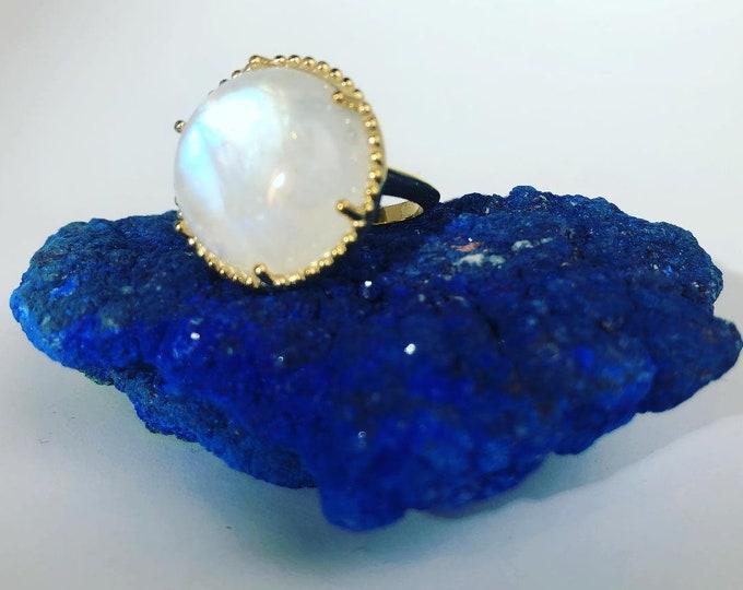 Moonstone ring, moonstone statement ring, large moonstone ring