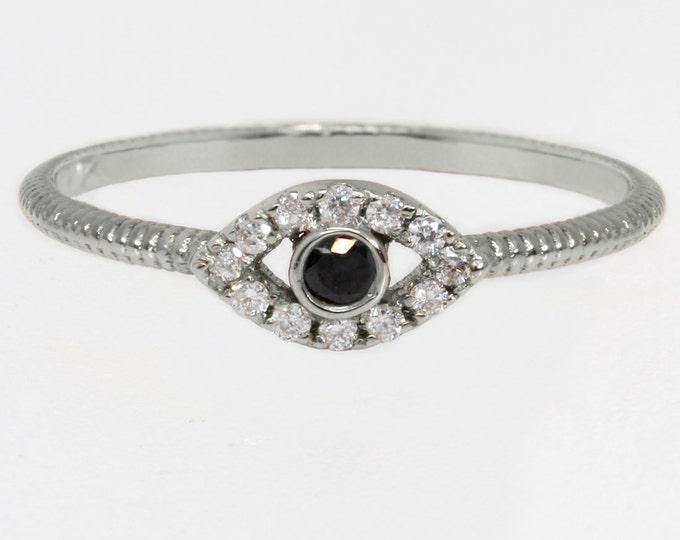 Evil eye ring, 14k white gold ring with black and white diamonds