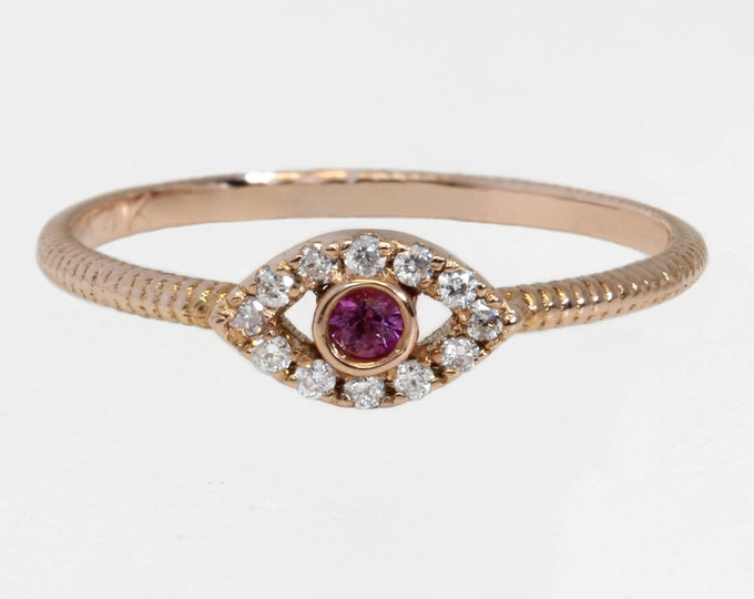 Evil eye ring 14k gold ring with diamonds and pink sapphire iris