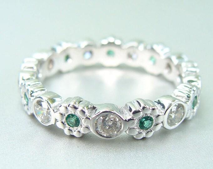 Diamond Eternity ring 14k white gold diamonds emerald