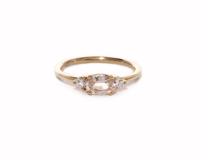 Pink sapphire with side diamonds ring, Valentine gift