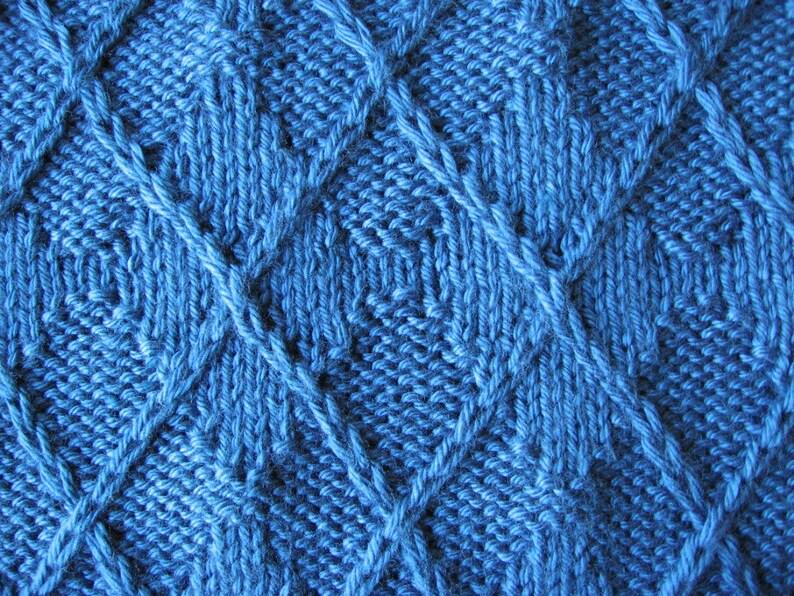 3-D Argyle Blanket knitting pattern pdf digital download