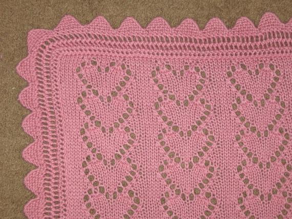Lace Heart Chains Baby Blanket Knitting Pattern Pdf Digital Etsy