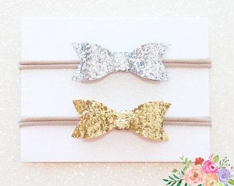 Glitter Headband Glitter Bow, Gold Glitter, Sparkle, Nylon Headband, Baby Headband, Baby Head wrap