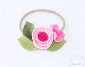 Baby | Baby Headband | Nylon Headband | Toddler Headband | One Size fits all | Flower Headband | Felt Headband | Flower headband | Pink