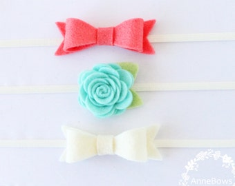 Bow Headbands. Headbands Bows. Baby Headbands Set. Headbands. Newborn headbands. Gift Baby. Infant Headband. Flower felt. Lot