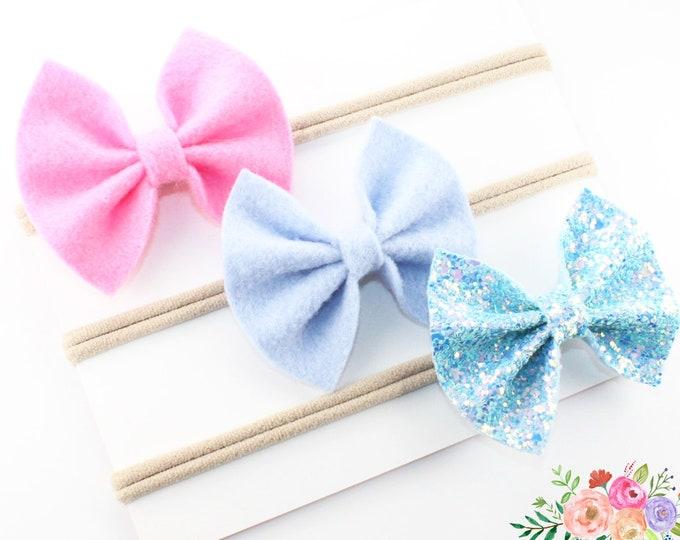 Baby Headbands, Baby Headbands and Bows, Newborn headbands, Baby girl,  Baby Girl Bows, Baby Bows, Nylon Headbands, Toddler headbands, Set
