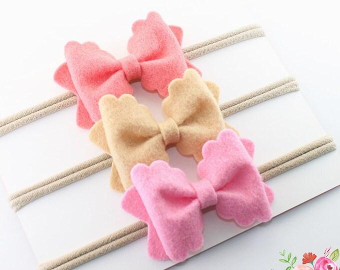 Nylon Headband. Nylon headbands. Cameo Pink headband. Baby Headband. Felt baby headband. infant headband. bow headband. baby bow. hair bows