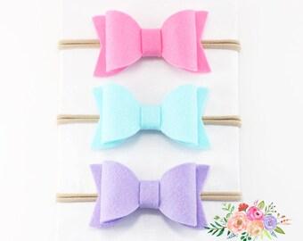 Baby Headband, Baby Bows, Bow and Headbands, Set,  Hair Bow,Infant Headband, Nylon Baby Headband, Nylon Headbands, Nylon Headband, Lot. Set