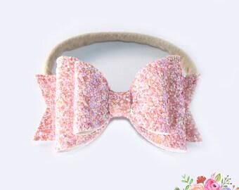 Pink Nylon Headband. Glitter Headband. Bow Baby Headband