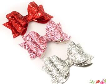 Red Glitter Bow Headband