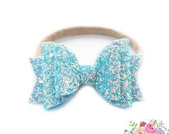 Glitter Headband. Baby Headbands. Nylon Headbands, Sparkle Bow. Bows and Headbands. Baby Girl. Baby Bows. Bows