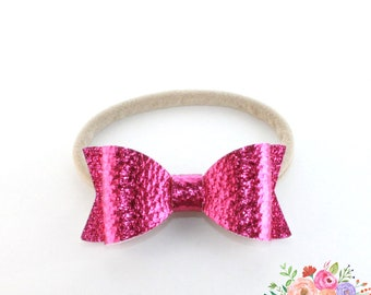 Shocking Pink Faux Leather Headband